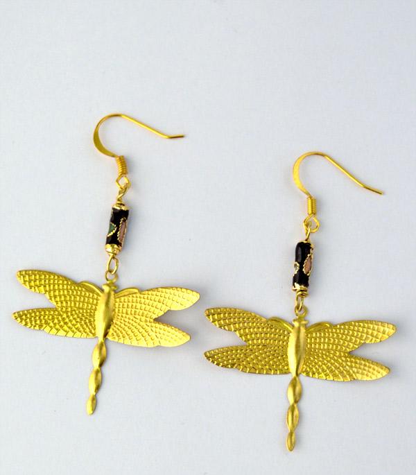 Golden Dragonflies örhängen med cloisonne pärlor och trollsländor
