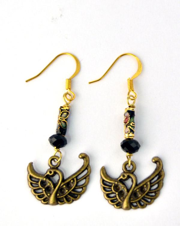 Lovebirds, örhängen art nouveau