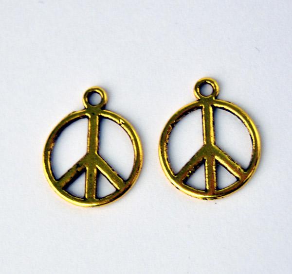 Berlocker Peace symbolen i guldton